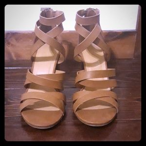 Bamboo strappy heels